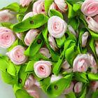 Ribbon Rose DIY Wedding Flower Satin Decor Bow Appliques Craft Sewing Leaves