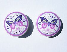 2  BUTTERFLY LANE PURPLE MTM BEDDING  DRESSER DRAWER KNOBS BY ORDER