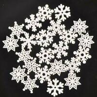 20 Wood Christmas Snowflakes Tree Decorations Craft Hanging Bauble Blank Shapes