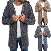 UK Men's Hooded Knitted Sweater Trench Coat Jacket Cardigan Long Sleeve Outwear
