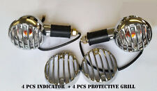 NEW ROYAL ENFIELD CLEAR INDICATOR SET OF 4 WITH CHROME COATED GRIL 350/500cc @UK