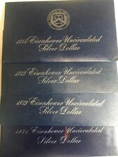 1971 S,1972 S,1973 S,1974 S Eisenhower Uncirculated Silver Dollar 4 Pieces