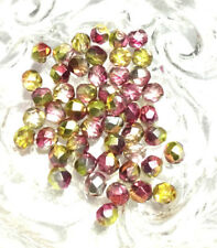 6mm Czech fire Polished 50 Beads Multi Fuchsia Gold Colored Beads