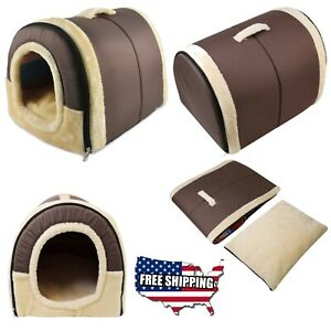 Soft warm cat dog house foldable dog crate cat bed