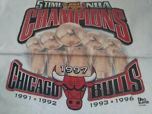 VTG 90s 1997 Chicago Bulls 5 TIME NBA CHAMPIONS Champs T Shirt White X-Large XL