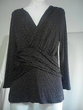 Diana Ferrari Ladies Top in Black with Beige Dots Size L