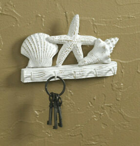 Park Designs Pastel Shells Key Hook Hardware Beach White #24-144