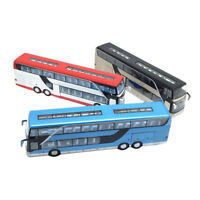 Kids Gift Alloy Bus Pull Back Model Night View Collectible Die Cast Double