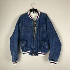 Anchor Blue Global Workwear Denim Bomber Jacket Mens Size Large Vintage