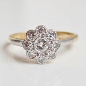 Stunning Vintage Art Deco 18ct Gold Diamond (0.35ct) Daisy Cluster Ring c1935