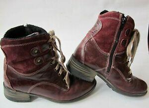 Josef Seibel Women's Purple Leather Suede Lace Up Side Zip Ankle Boots EUR36 3.5