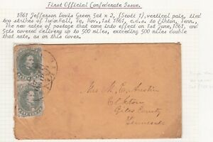 US Civil War Confederate States 1861 Jefferson Davis Pair on Cover to Tennessee