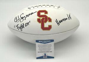 "OJ SIMPSON ""USC TROJANS"" AUTOGRAPH SIGNED 'HEISMAN 68' LOGO FOOTBALL BECKETT"