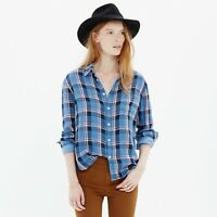 MADEWELL Cozy Shirt In Blue Plaid Size XS
