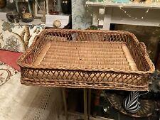 "Vintage Handmade Wicker Tray Large 22"" X 17"""