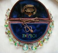 ART DECO Czech Rainbow Iris Watermelon Crystal Bead Vintage Rolled Gold NECKLACE