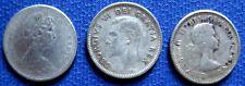 1945 -1965 GEORGE VI, ELISABETH II Canada 10  CENT Silver  COINS KM# 34, 51, 61