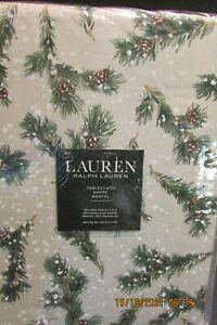 """Lauren Ralph Lauren """"Snowy Pine Trees"""" 60"""" x 84"""" Tablecloth...New"""