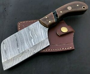 Handmade Axe Damascus Steel Viking Axe-Camping-Outdoors-Leather Sheath-MD146