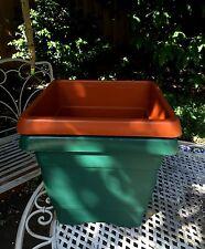 8 Garden Flower Pot Planter Square Plastic pots Green /Brown 27x27x24cm AUS Made