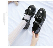 Womens Sweet Round Toe Lolita Mary Jane Bowknot Flats Cosplay Buckle Strap Shoes
