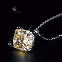 18k white gold gp made with SWAROVSKI crystal square solitaire pendant necklace
