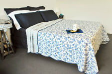 Quilts Coverlet King Single Size 195cm x 235cm  Blue Foral Include 1 pillowcase