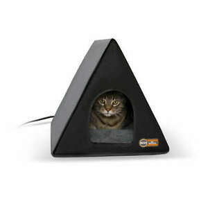 """K&H PET PRODUCTS 3880 Gray / Black HEATED A-FRAME CAT HOUSE GRAY / BLACK 18"""" ..."""