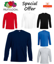 Fruit of the Loom Long Sleeve T Shirt Plain Tee Shirt Top Cotton Value Wholesale