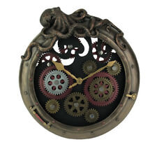 "Steampunk 12.00"" Timepiece Octopus Porthole Wall Clock With Moving Gears"