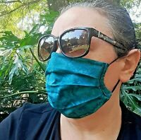 Teal Handmade in USA Washable Pleated Face Mask Filter Pocket Nose Wire