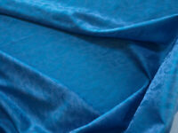 "Dark Turquoise Blue Silk from India. Paisley Design On Elegant Fabric 44"" & 1Yd"