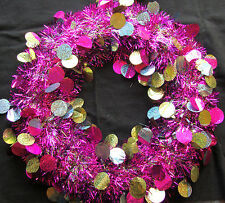 Bright Hot Pink Magenta Tinsel Wreath Door Decoration CHEAP Christmas Wreath