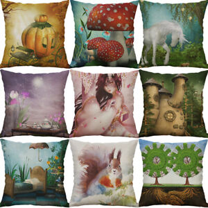 "18"" Cotton Linen Printing pictures squirrel pillow case Home Decor Cover"