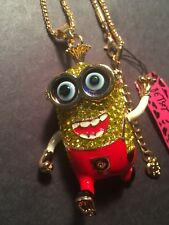 Betsey Johnson full crystal Lovely golden cartoon Minions Necklace-BJ10061