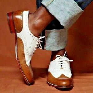 Formal shoes with laces in Brogue Style Oxford Bicolor Genuine Leather Tan