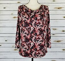 Jennie & Marlis Top Size Large Womens Black Red Paisley 3/4 Sleeves