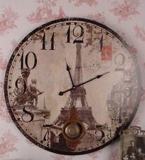 Style Nostalgie/ Rétro Pendule Horloge Murale de Cuisine Paris Tour Eiffel