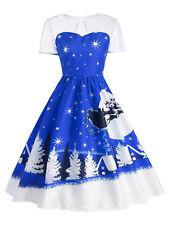 Women'S Christmas Party Vintage Dress Santa Claus Deer Print Retro Swing Dress