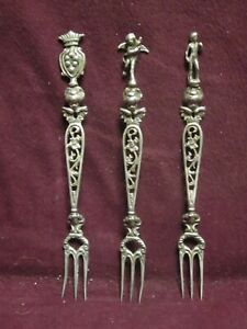 """3pc Vintage Italy 800 Silver Figure Cocktail FORKS  5"""" 43g  No Mono"""