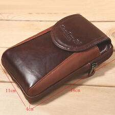 Men's Genuine Leather Messenger Shoulder Bag Mobile Wallet Fanny Waist Hook Pack