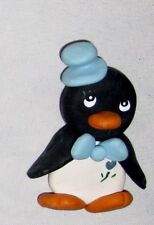 "Black White 2 3/4"" Penguin Wearing a Blue Top Hat Magnet Figurine Ornament"