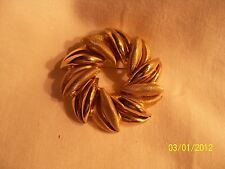 Vintage Gold Toned Swirl Pin Brooch Brushed and smooth Finish