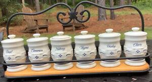 Longaberger Blue Woven Traditions single shelf spice rack W/ 6 spice jars-EUC