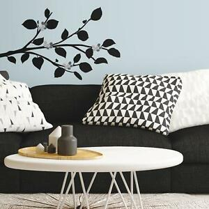 New MODERN BLACK BRANCH WALL DECALS w/ BENDABLE FLOWER MIRRORS Stickers Decor