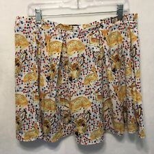 TopShop Size 12 Baby Deer Print Pleated Lightweight Above Knee Skirt