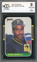 1987 Donruss #361BARR Barry Bonds Rookie Card BGS BCCG 9 Near Mint+