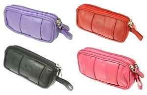Soft Black Red Purple Pink Leather Double Spectacle Case Holder With Belt Loop