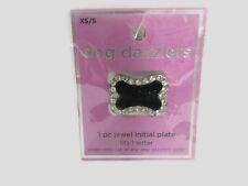 Dog Collar Tag Dazzlers Jewel Initial Plate Black Bone Rhinestones XS Small New