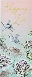 MAGNETIC SHOPPING LIST PAD - FLOWERS & BIRDS - QUALITY GIFT - 90 tear off pages